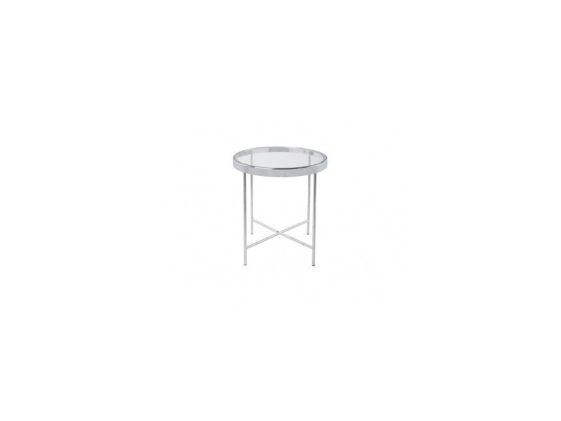 Table d'appoint chrome plateau en verre smooth
