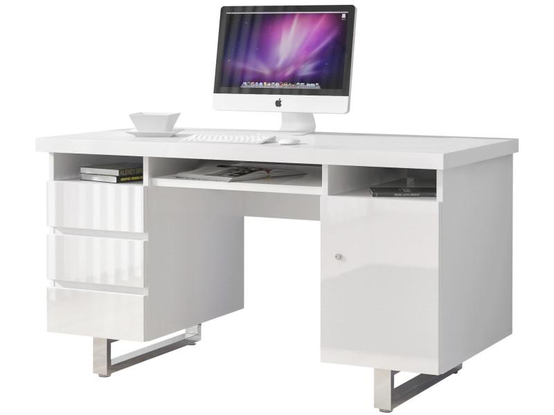 Bureau design avec tiroirs et porte blanc laqué en mdf avec