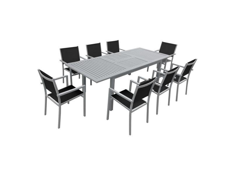 Salon de jardin capri extensible en textilène noir 8 places - aluminium ...