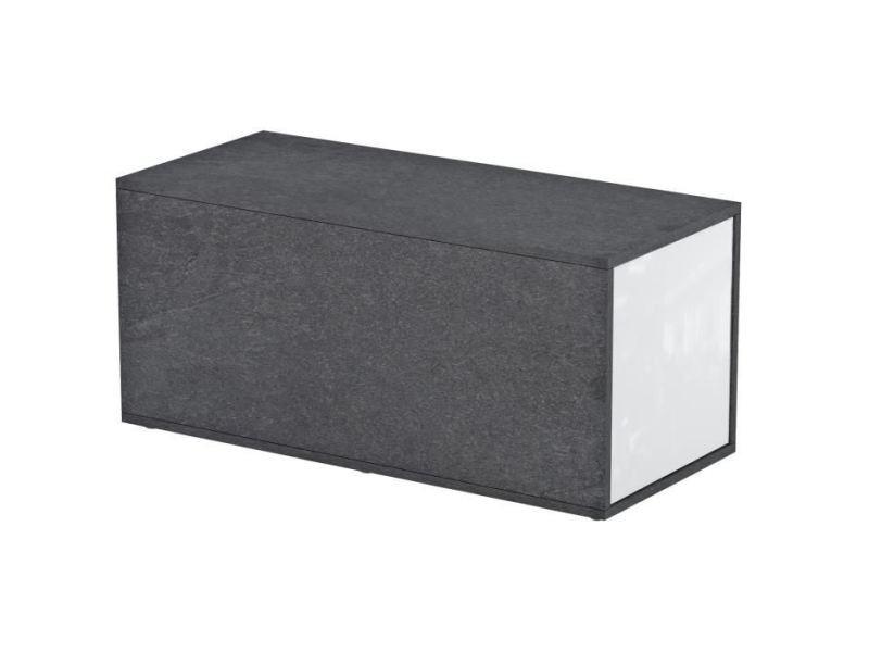 Table basse gummy table basse style contemporain mélaminée blanc et décor marbre - l 90-150 x l 41 cm