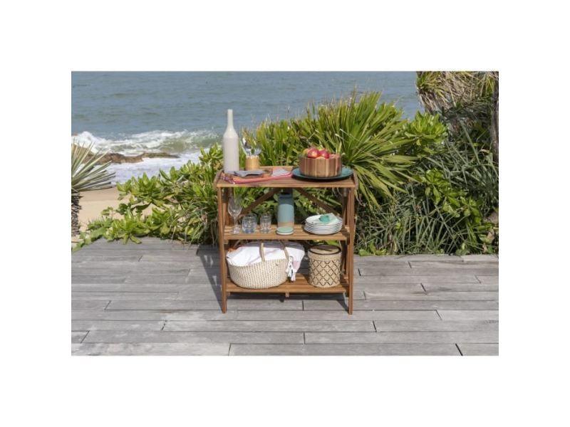 Bar de jardin - desserte de jardin desserte de service pliante en acacia avec plateau - 40x82x84 cm - marron