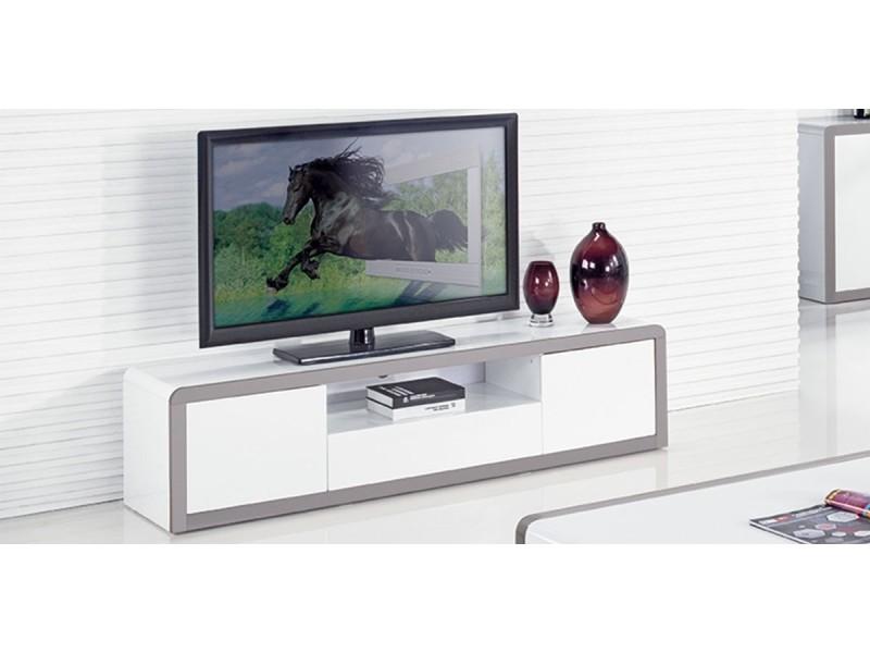 Meuble tv laqué juliana - blanc / gris