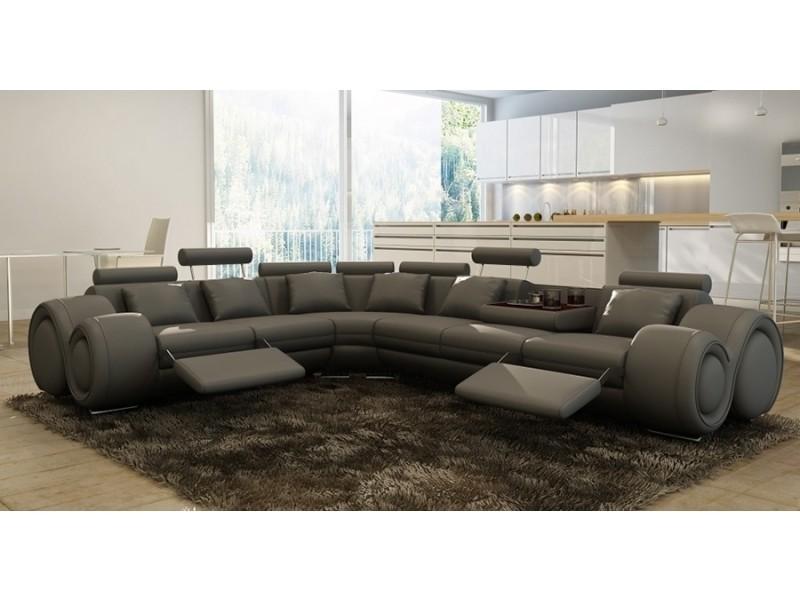 Canapé d'angle cuir gris + positions relax oslo (angle gauche)-