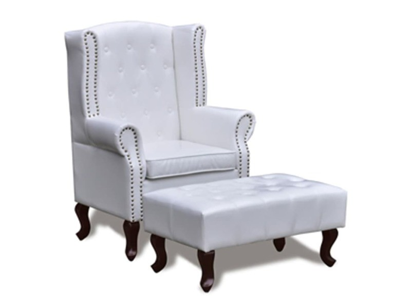 Vidaxl fauteuil chesterfield avec ottoman assorti blanc 60653
