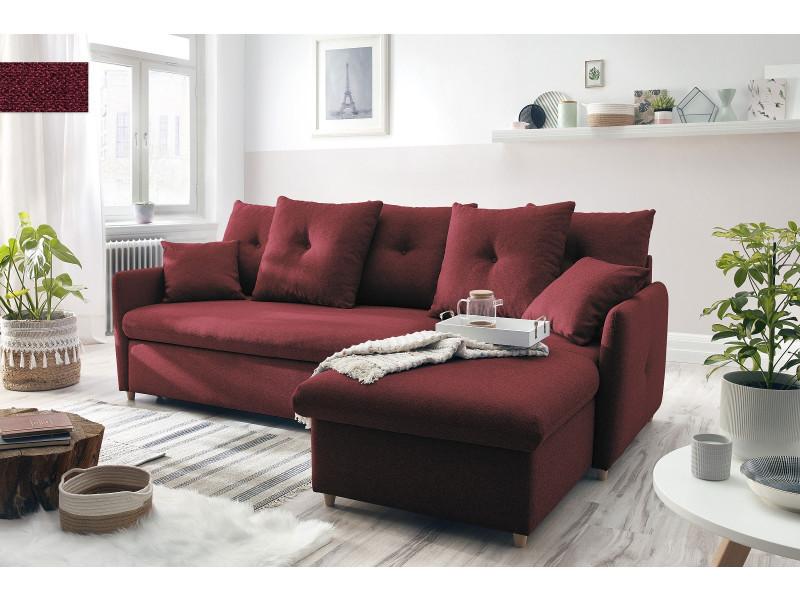 Canapé d'angle réversible convertible coffre dolly rouge