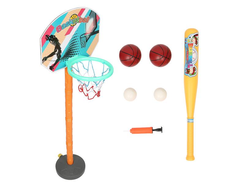 Hombuy® panier de basket multifonctionnel 2-en-1 avec basketball et base-ball pour enfant