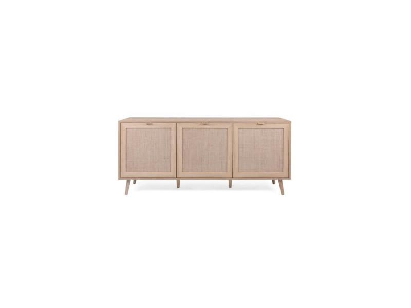Buffet 3 portes - décor chene sonoma - l 150 x p 40 x h 71 cm - bali BALI003043