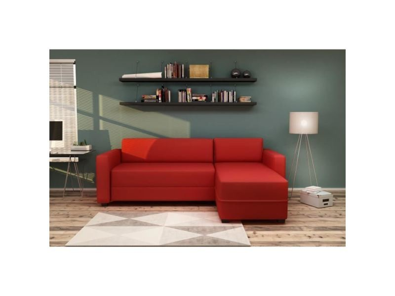 Canape - sofa - divan canapé d'angle réversible convertible kulma 3 places - tissu rouge - contemporain - l 208 x p 147 cm