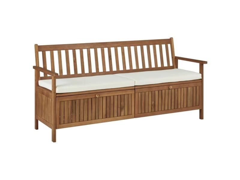 Esthetique sièges de jardin ligne erevan banc de rangement avec coussin 170 cm bois d'acacia solide