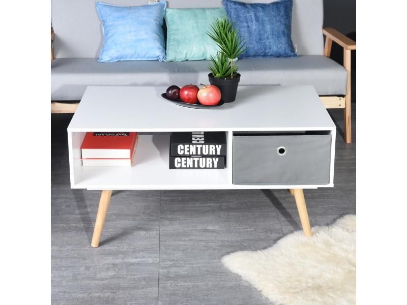 Table basse scandinave 1 tiroir bois blanc gris