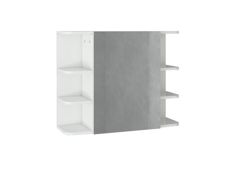 Armoire de toilette ml-design blanche, 80x64x21 cm, en panneau de particules mdf 490001596
