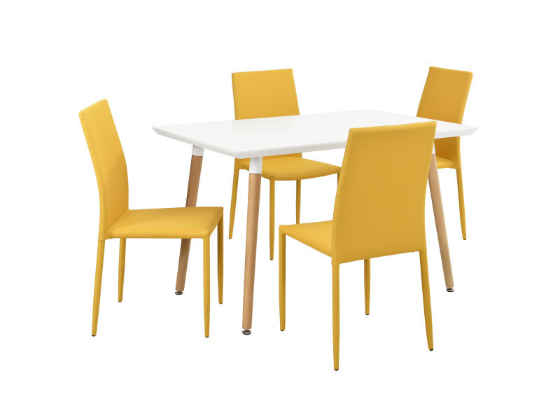 Merveilleux [en.casa]® Table De Manger Blanc Mat + 4 Chaises Couleur Moutarde 120x70cm  Cuisine