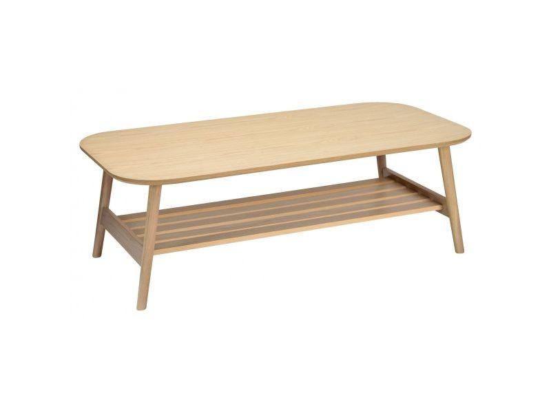 Table basse scandinave en chêne - double plateau 120 x 40 cm - otelo