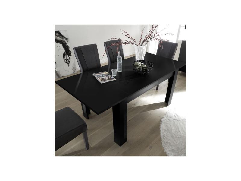Table de repas à allonge laqué noir - tarente - l 137/185 x l 90 x h 79 - neuf