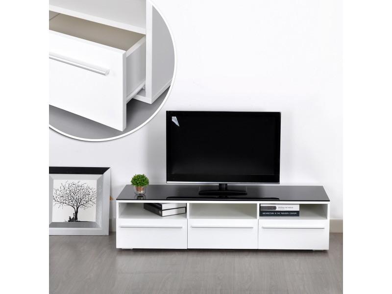 Meuble tv 140cm blanc bois 3 niches 3 tiroirs