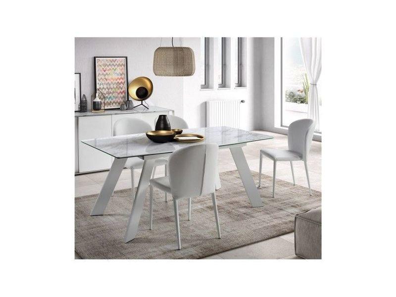 Table Céramique à Rallonge Effet Marbre Blanc Marble 180 225
