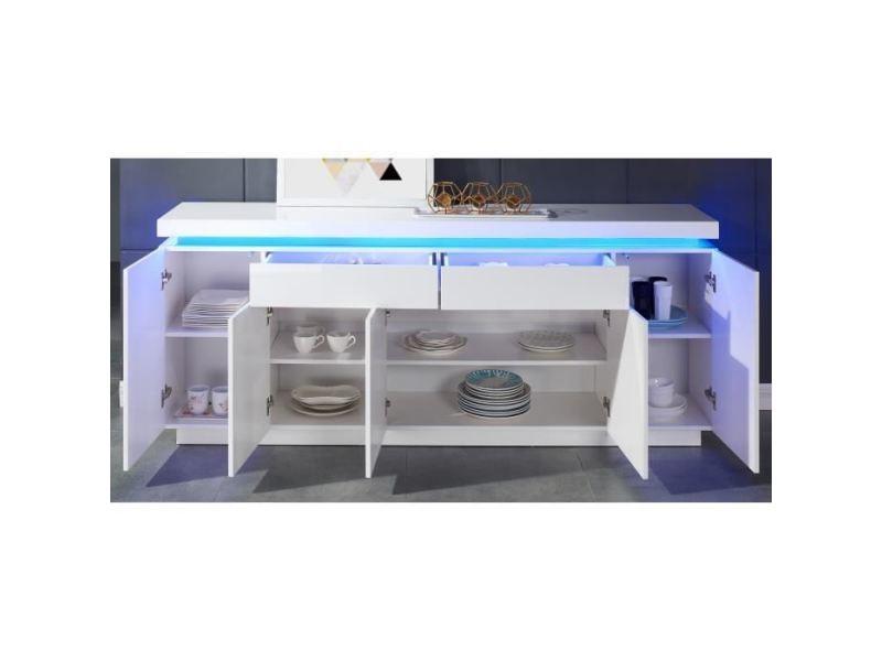Buffet - bahut - enfilade flash buffet bas avec led contemporain blanc laqué brillant - l 206 cm