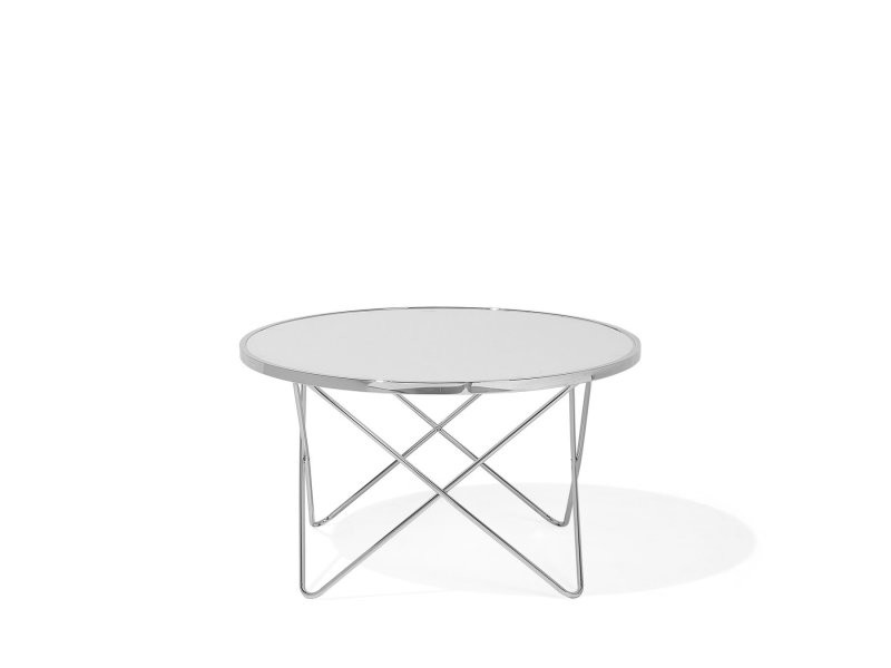 Table basse ronde blanc/chrome meridian 99795