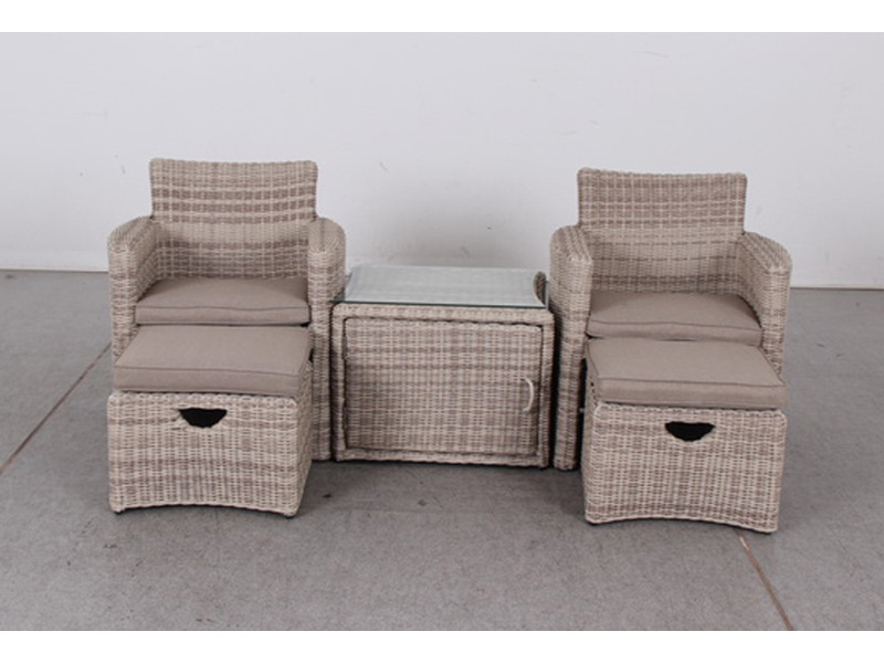 Set de salon bas coloris brun clair avec coussin nature en ...