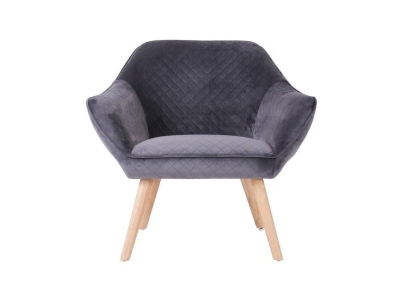 Hester fauteuil en velours anthracite 437905