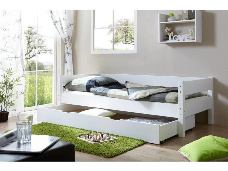Lit 1 personne - lit tiroir rangement - lit gigogne - hêtre massif vernis blanc - couchage ...