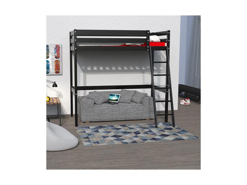 lit mezzanine studio 140x190 1 sommier noir vente de. Black Bedroom Furniture Sets. Home Design Ideas