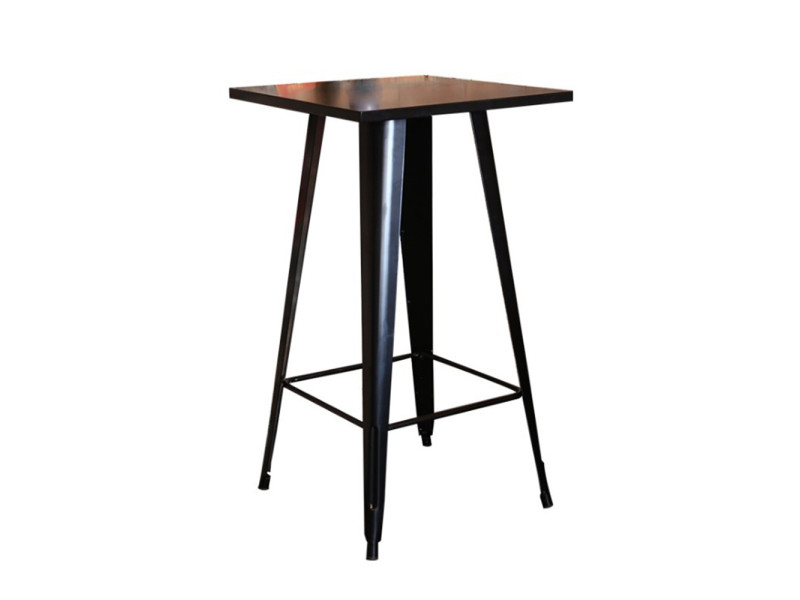 Hombuy® ensemble de table de bar noir et 4 tabourets avec siège en bois style industriel pour bistrot, cuisine, jardin, restaurant