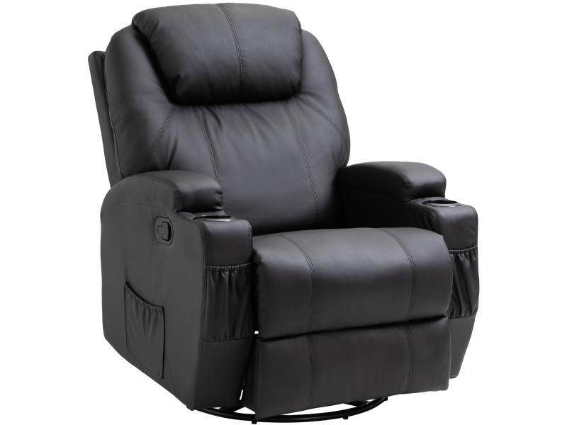 Fauteuil de massage relaxation électrique chauffant inclinable pivotant 360° avec repose-pied ajustable simili cuir noir
