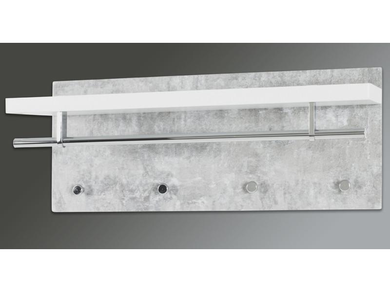 Garderobe murale en mdf optique béton-blanc-chromé - dim : l75 x p26 x h30 cm