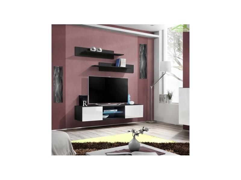 Grand meuble tv fly 33 à suspendre 160x30x40cm avec éclairage led - corps noir mat/ front blanc de haute brillance 25 ZW FY 33