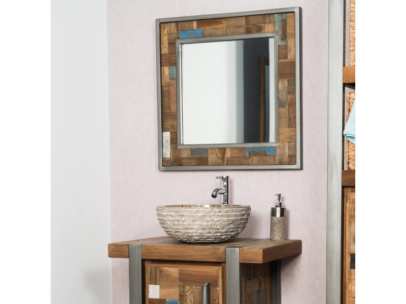 Miroir de salle de bain factory teck métal 70x70 31068 - Vente de ...