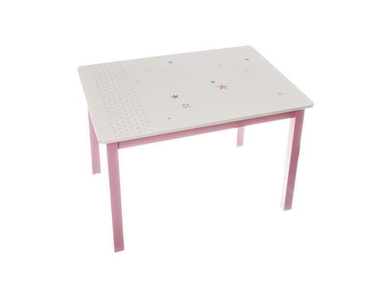 Table rose pour enfant en bois