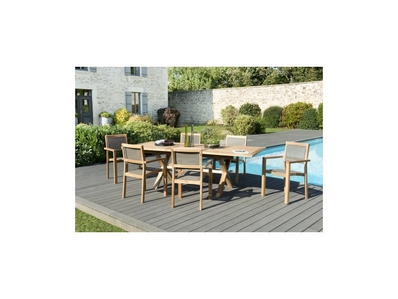 Salon de jardin en teck et textilène avec 1 table rectangle ...