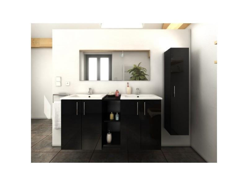 Meuble de salle de bain double vasque 120 cm + 1 colonne noir laura ...