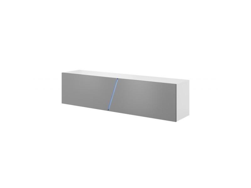 Meuble tv suspendu design speed, 160 cm, 3 espaces de rangement avec 1 porte, coloris blanc mat et gris brillant + led bleu.