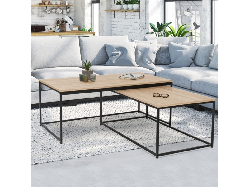 Lot de 2 tables basses gigognes detroit 100/113 design industriel