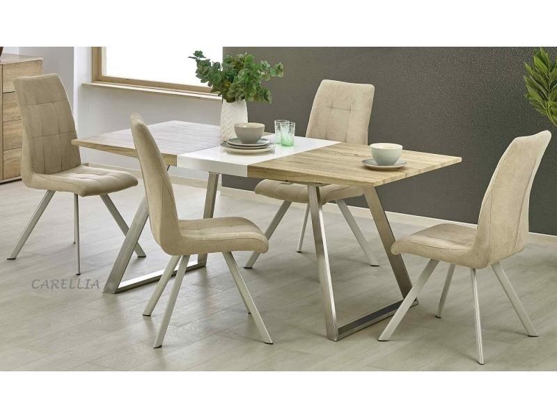 Table a manger design rectangulaire extensible - l : 130÷170 x p : 80 cm x h : 76 cm - couleur : chene clair / blanc