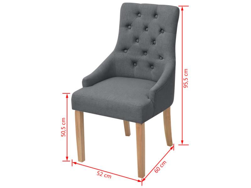 de pcs chaises tissu à Vidaxl salle manger chêne 4 de bois 8nXOk0wP