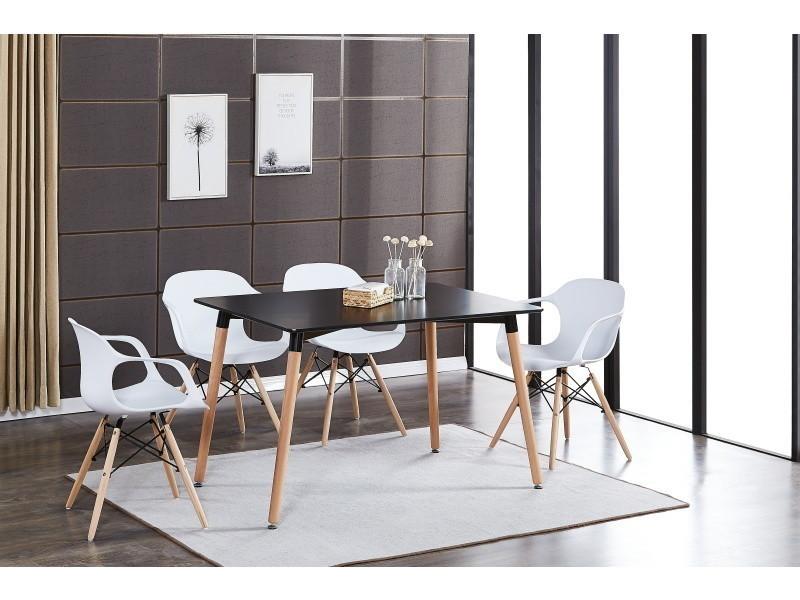 Table noire & 4 chaises modernes blanches alecia halo - Vente de ...