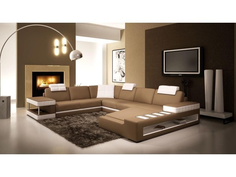 Canapé d'angle panoramique en cuir marron et blanc marcus (droit)-