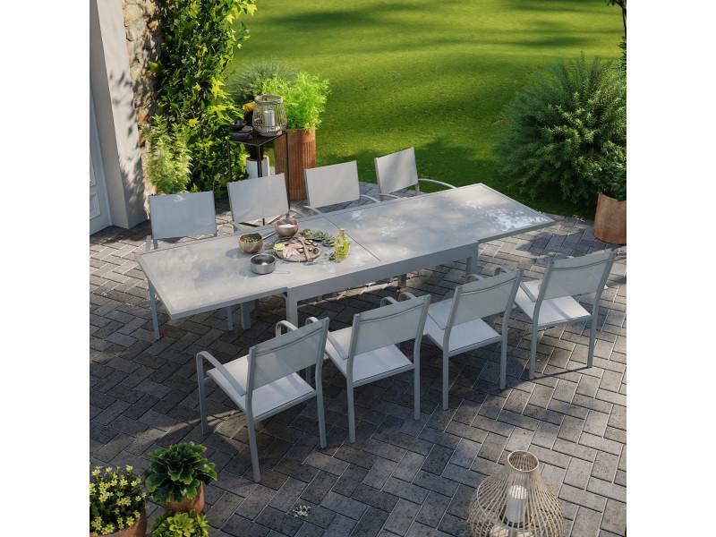 Table de jardin extensible aluminium 270cm + 8 fauteuils empilables textilène gris - lio 8