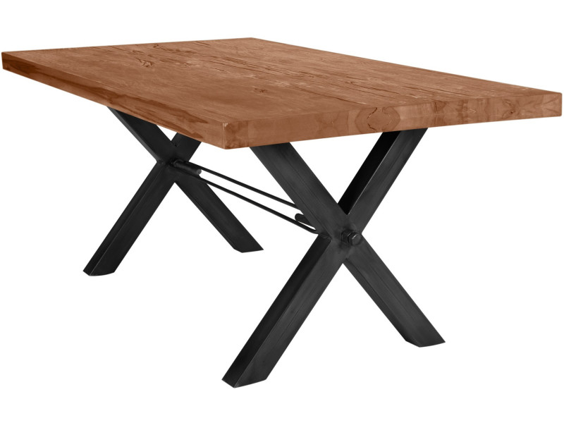 Table De Salle à Manger Rustique 180x100 Cm En Bois Massif Brun Avec