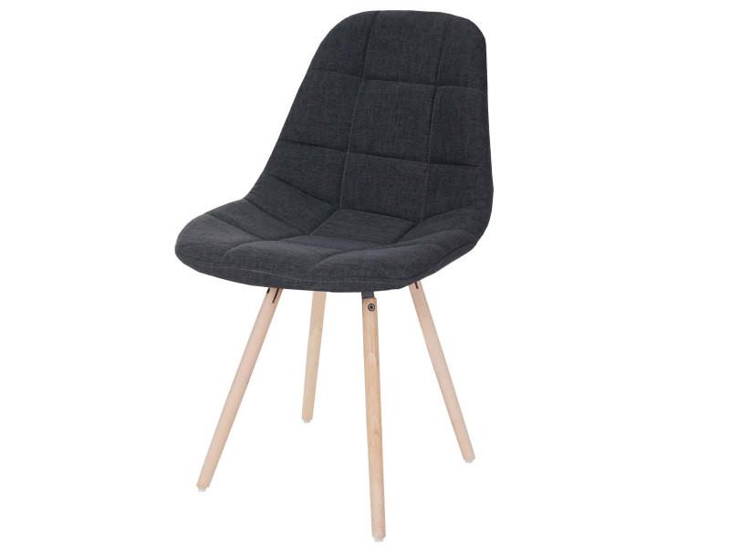 Chaise de salle à manger hwc-a60 ii, chaise de cuisine, design rétro des années 50 ~ tissu/textile gris foncé