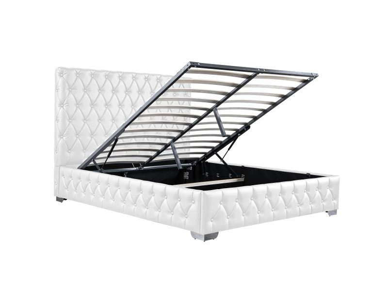 Royal lit coffre pu blanc 180x200 cm