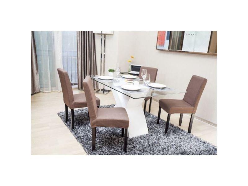 Chaise strip lot de 2 chaises de salle a manger déhoussable - tissu marron - contemporain - l 44 x p 53 cm