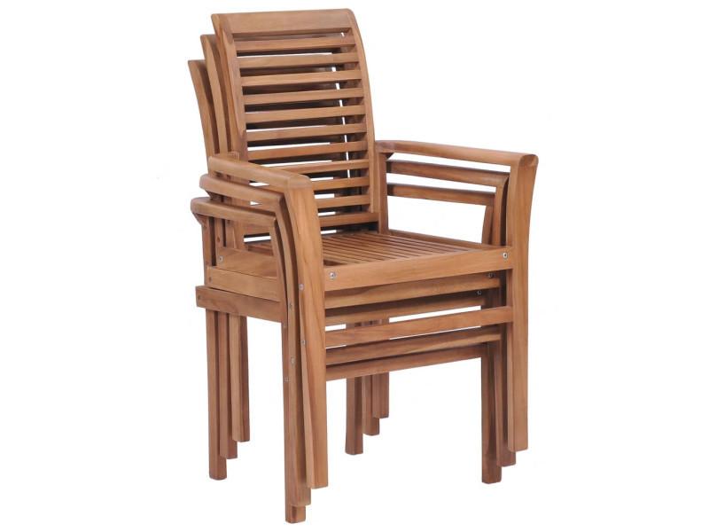 Vidaxl chaises de salle à manger empilables 2 pcs teck ...