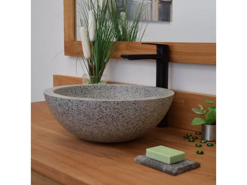 vasque a poser gris Vasque à poser en terrazzo gris, rondo