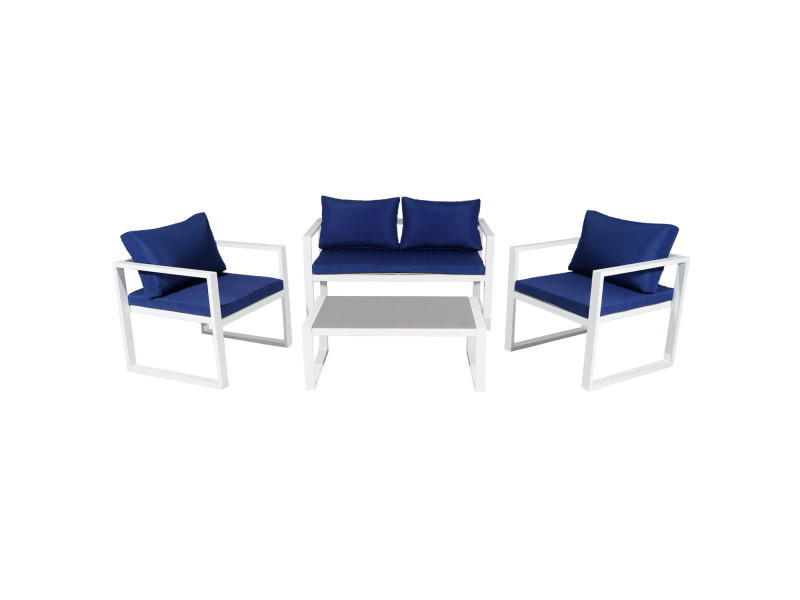 Salon de jardin ibiza en tissu bleu 4 places - aluminum blanc - Vente ...
