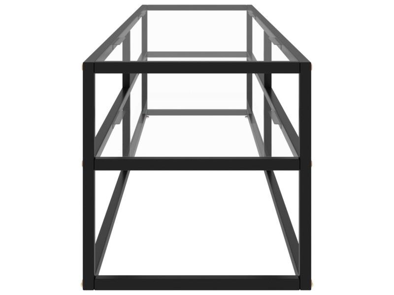 Vidaxl meuble tv noir avec verre trempé 160x40x40 cm