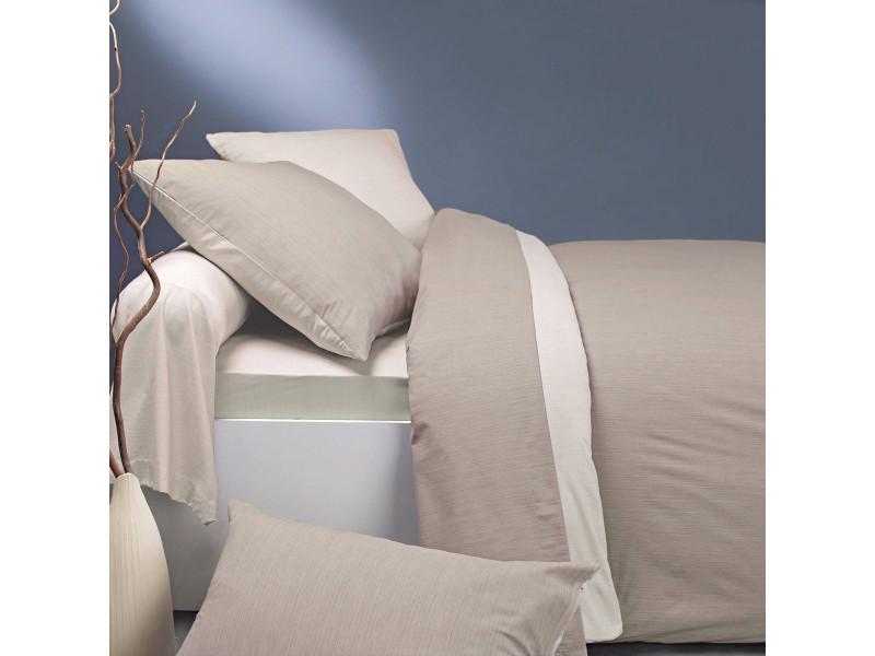 Parure de lit écorce lin/crème 200x200 cm